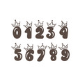 vintage plump set numbers with crown vector image vector image