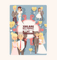 wedding greeting card template vector image