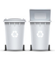 white recycling bin bucket for trash vector image vector image
