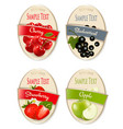 set of labels of berries and fruit strawberry vector image