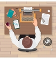 Writer s workplace Top view of man writer working vector image