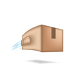 Fast package delivery concept Box with jet engine vector image