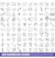 100 gambling icons set outline style vector image vector image