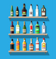 alcohol drinks collection bottles on shelf vector image vector image