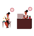 black african businesswoman having breakfast vector image vector image