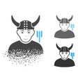 broken pixelated halftone horned warrior icon with vector image