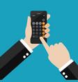 businessman using calculator application vector image vector image
