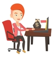 Businesswoman earning money from online business vector image