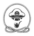 captain hat with smoking pipe nautical emblem vector image vector image