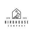 cardinal bird with house logo design line outline vector image vector image