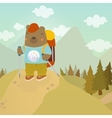 Cartoon bear adventure tourist vector image vector image