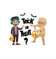 cartoon children monster and mummy costume trick vector image vector image