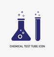 chemical test tube icon set with bubble inside vector image
