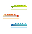 color arrows with boots vector image vector image