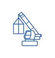 crane cargo logistics wrecker line icon concept vector image vector image
