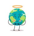 cute earth character angel with nimbus cartoon vector image