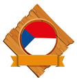 czech republic flag on wooden board vector image