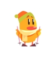 Duckling Skiing Cute Character Sticker vector image vector image
