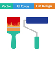 Flat design icon of construction paint brushes vector image vector image