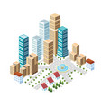 flat isometric style city vector image vector image