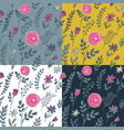 four seamless patterns with hand drawn floral vector image