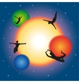 Free movement and levitating in space vector image