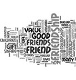 friendship do you value text background word vector image vector image