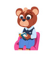 funny bear character little forest citizen vector image vector image