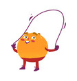 funny smiling orange character with jumping rope vector image vector image