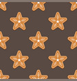 gingerbread star christmas cookies seamless vector image vector image
