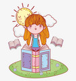 girl read books information with sun vector image vector image