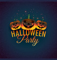 halloween party background with laughing pumpkins vector image