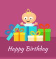 happy birthday card with smiling little baby and vector image vector image