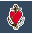 Heart with anchor vector image vector image
