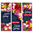 hello spring floral banner for springtime holiday vector image vector image
