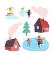 house and winter activities of people set vector image vector image