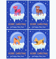 merry christmas and happy new year festive posters vector image vector image