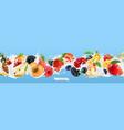milk splash yogurt with fruits and berries vector image vector image