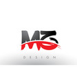 mz m z brush logo letters with red and black vector image