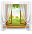 nature summer background with wooden window frame vector image vector image