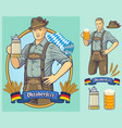 oktoberfest cartoon character design for poster vector image vector image