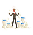 overworked businessman with red face standing is vector image vector image