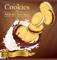 promotion banner with cookies and splashes vector image vector image