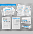 realistic newspaper transparent set vector image vector image
