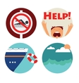 rescue of drowning man icons Prohibition vector image