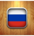 Rounded Square Russian Flag Icon on Wood Texture vector image