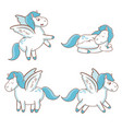 set blue unicorn wings horse magical character vector image vector image
