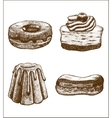 set of doughnut pastry cake eclair vector image vector image