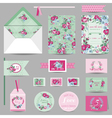 set wedding stationary - invitation card vector image vector image