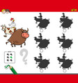 shadow activity game with farm animals vector image vector image
